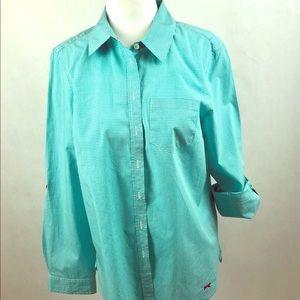 Talbots Cotton Button-Down Tab Sleeve Shirt Sz MP